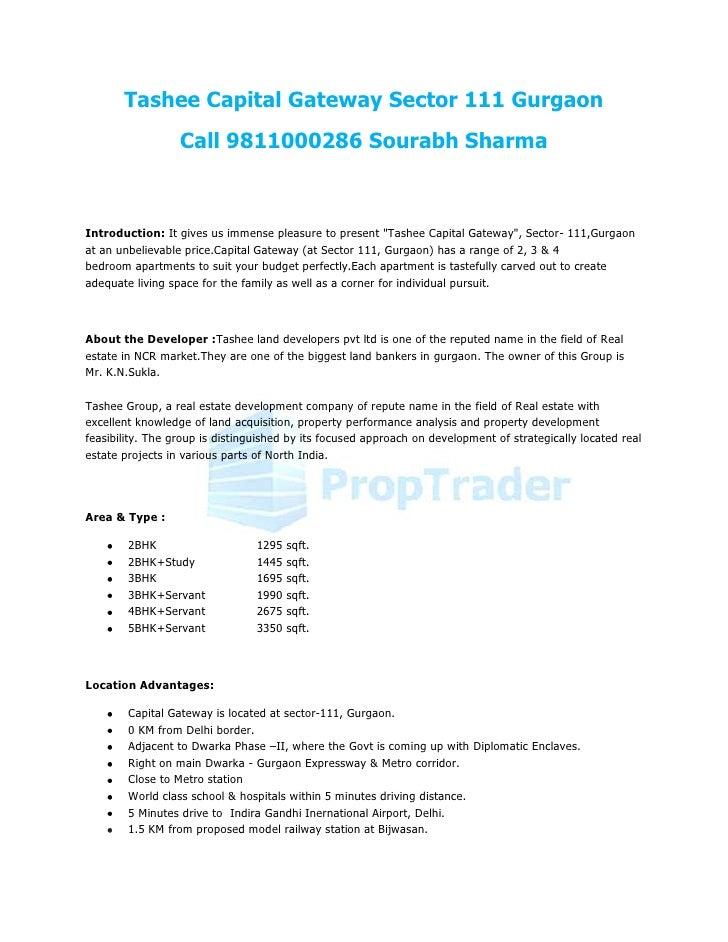 Tashee Capital Gateway Sector 111 Gurgaon                  Call 9811000286 Sourabh SharmaIntroduction: It gives us immense...