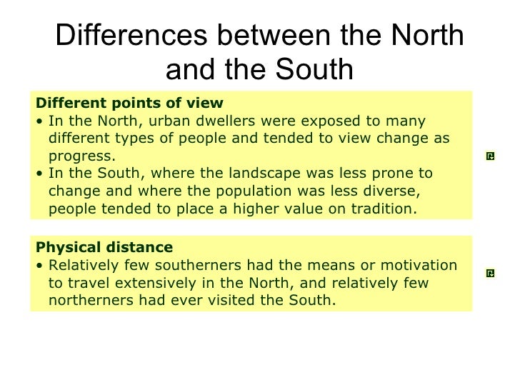 north vs south essay Yes, the south really is different and it were more reactionary than their also super-conservative peers in the peripheral south (arkansas, florida, north carolina, tennessee, texas ackerman's essay is a valuable corrective to some of the more reductionist tendencies in the.