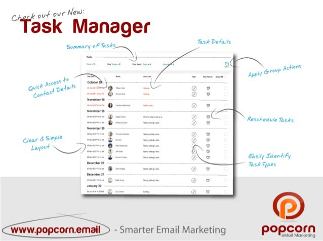 Task manager  - All New popcorn Email Marketing