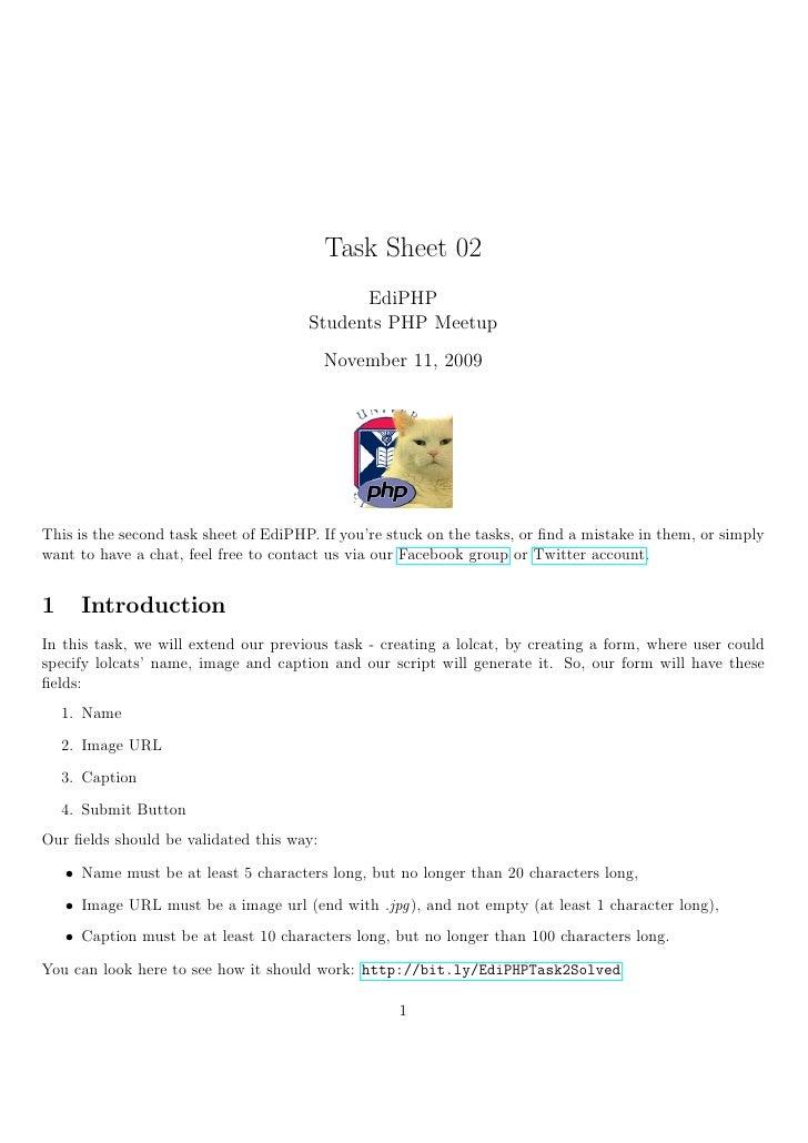 Task Sheet 02                                              EdiPHP                                        Students PHP Meet...
