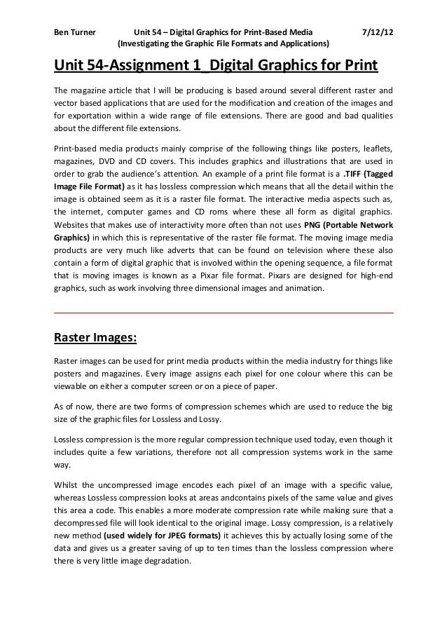 Ben Turner           Unit 54 – Digital Graphics for Print-Based Media                 7/12/12                 (Investigati...