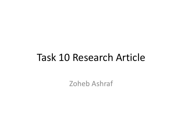 Task 10 Research Article Zoheb Ashraf