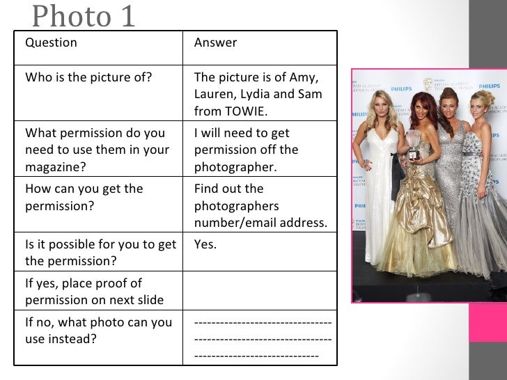 Photo 1Question                        AnswerWho is the picture of?          The picture is of Amy,                       ...