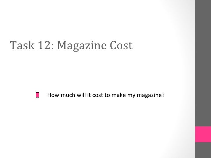 Task 12: Magazine Cost      How much will it cost to make my magazine?