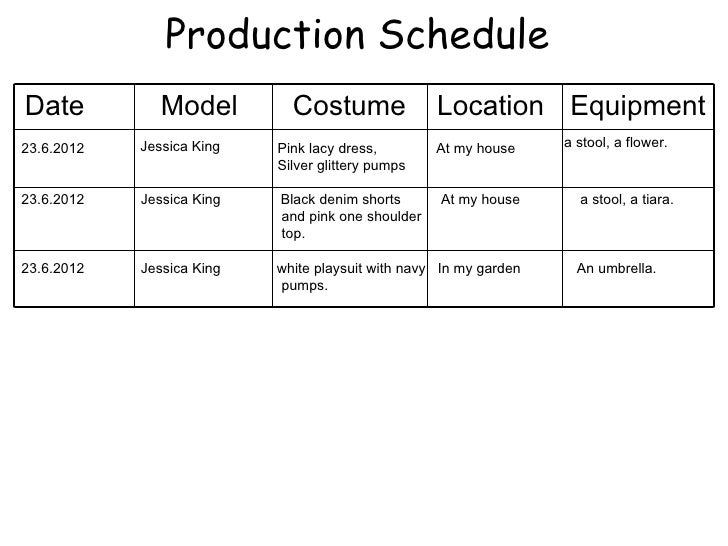 Production ScheduleDate           Model         Costume               Location Equipment23.6.2012   Jessica King   Pink la...