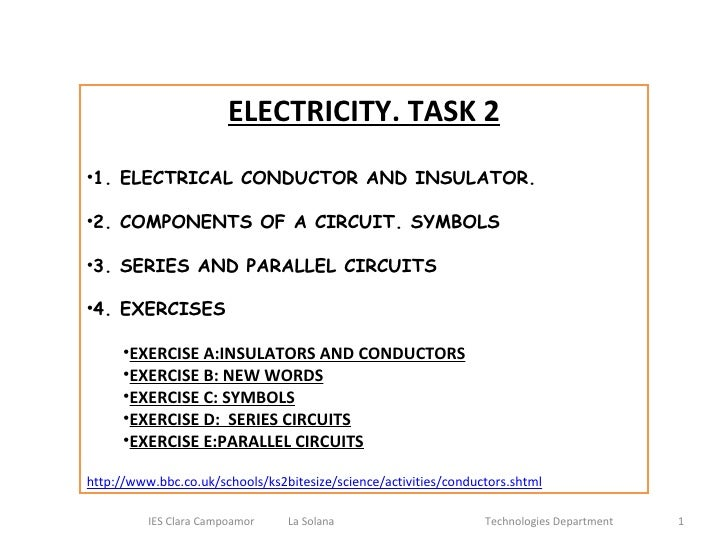 <ul><li>ELECTRICITY. TASK 2 </li></ul><ul><li>1. ELECTRICAL CONDUCTOR AND INSULATOR.  </li></ul><ul><li>2. CIRCUIT COMPONE...