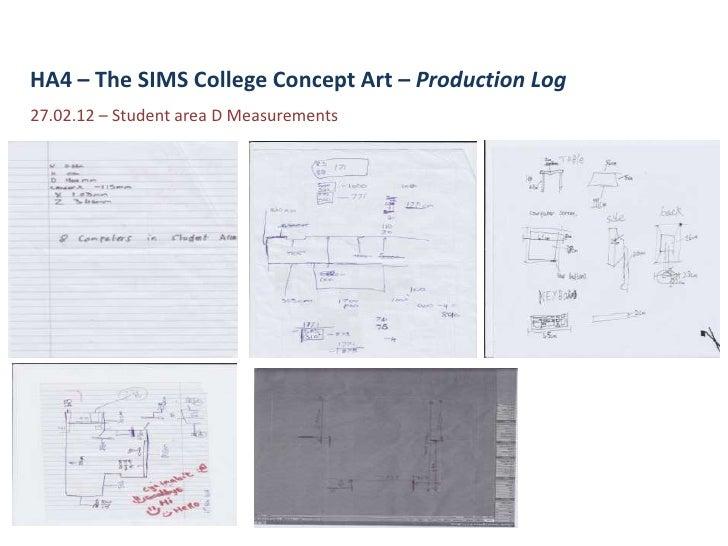 HA4 – The SIMS College Concept Art – Production Log27.02.12 – Student area D Measurements
