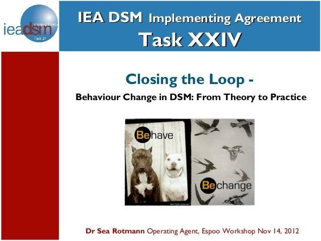 IEA DSM Implementing Agreement    Subtasks of Task XXIV                Task XXIV            Closing the Loop -Behaviour Ch...
