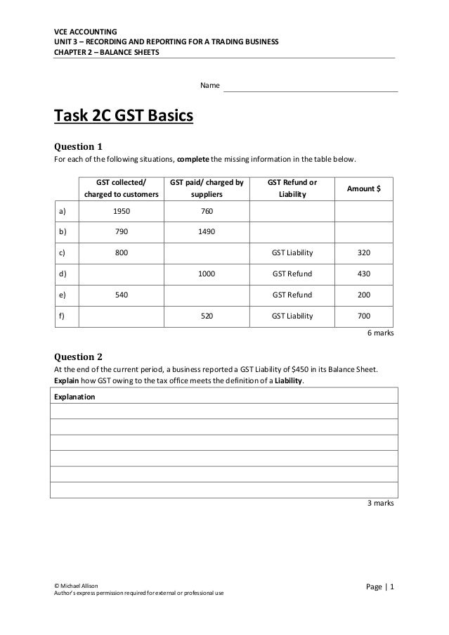 VCE ACCOUNTING UNIT 3 – RECORDING AND REPORTING FOR A TRADING BUSINESS CHAPTER 2 – BALANCE SHEETS © Michael Allison Author...