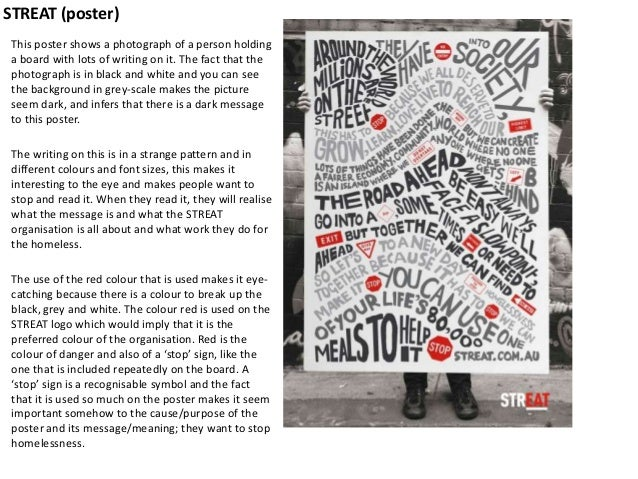 STREAT (poster) This poster shows a photograph of a person holding a board with lots of writing on it. The fact that the p...