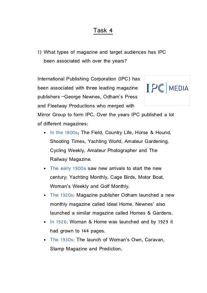 Task 41) What types of magazine and target audiences has IPC  been associated with over the years?International Publishing...