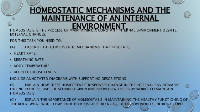 the importance of homeostasis in maintaining healthy functioning of the body essay Human homeostasis refers to the body's ability to physiologically regulate its inner environment to ensure its  maintaining a near-constant body temperature.