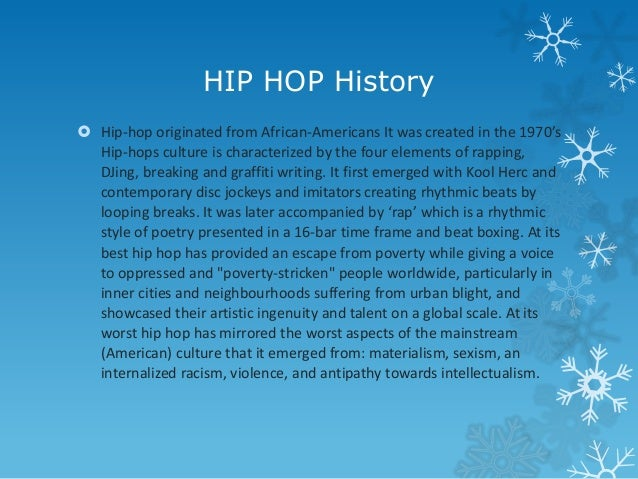 HIP HOP History  Hip-hop originated from African-Americans It was created in the 1970's Hip-hops culture is characterized...