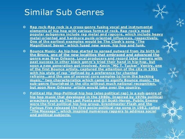 Similar Sub Genres   Rap rock-Rap rock is a cross-genre fusing vocal and instrumental elements of hip hop with various fo...