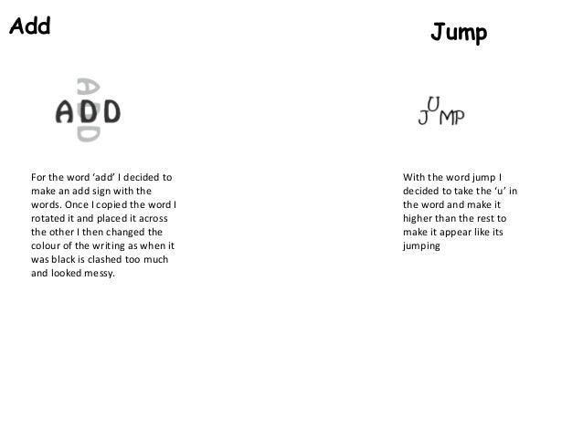 Add  For the word 'add' I decided to make an add sign with the words. Once I copied the word I rotated it and placed it ac...