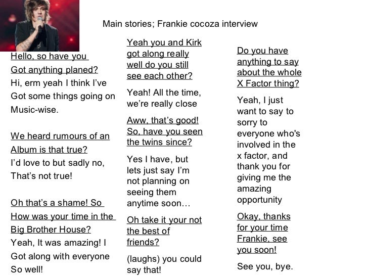 Main stories; Frankie cocoza interview                            Yeah you and Kirk                            got along r...