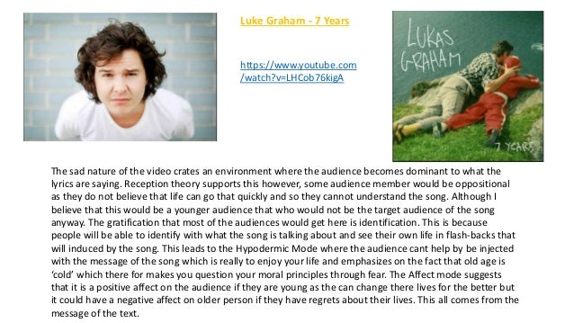 Luke Graham - 7 Years The sad nature of the video crates an environment where the audience becomes dominant to what the ly...