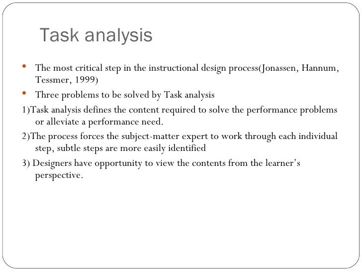 Task analysis for Instructional design analysis template