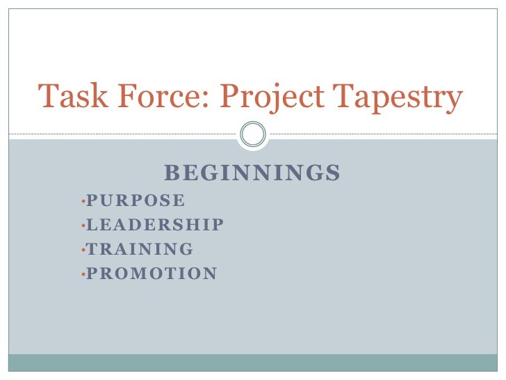 Task Force: Project Tapestry<br />Beginnings<br /><ul><li>PURPOSE
