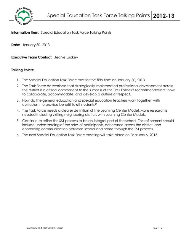 Special Education Task Force Talking Points 2012-13Information Item: Special Education Task Force Talking PointsDate: Janu...
