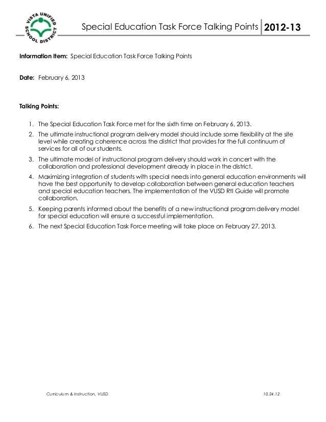 Special Education Task Force Talking Points 2012-13Information Item: Special Education Task Force Talking PointsDate: Febr...