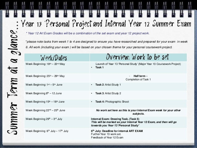 Week Beginning: 18th – 22nd May Launch of Year 13 'Personal Study' (Major Year 13 Coursework Project) • Task 1 Week Beginn...