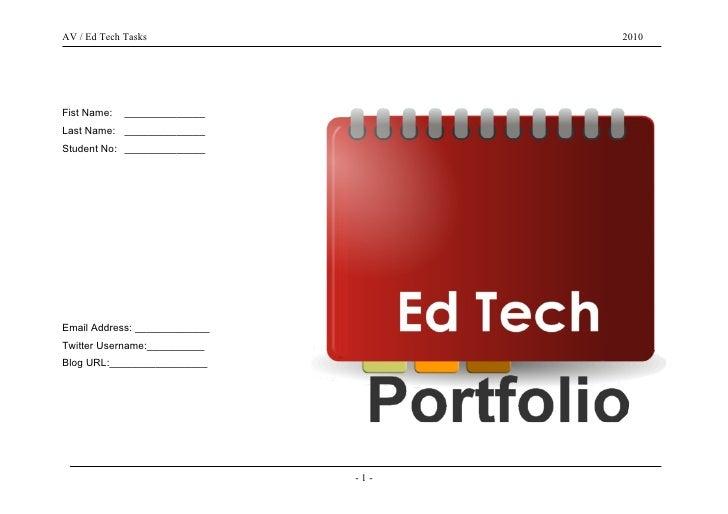 AV / Ed Tech Tasks                   2010     Fist Name:   ______________ Last Name: ______________ Student No: __________...