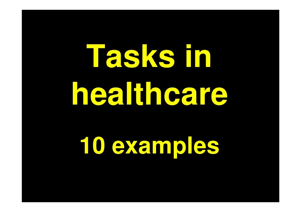 Tasks in healthcare 10 examples