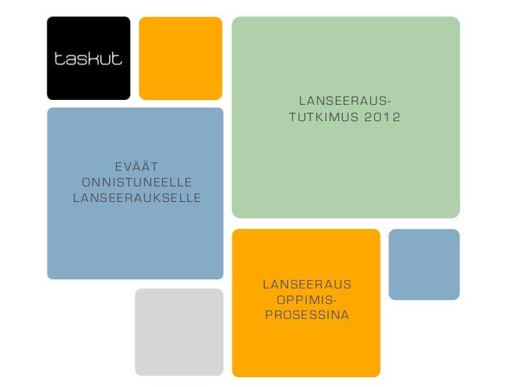 LANSEERAUS-                    TUTKIMUS 2012     EVÄÄT ONNISTUNEELLELANSEERAUKSELLE                  LANSEERAUS           ...