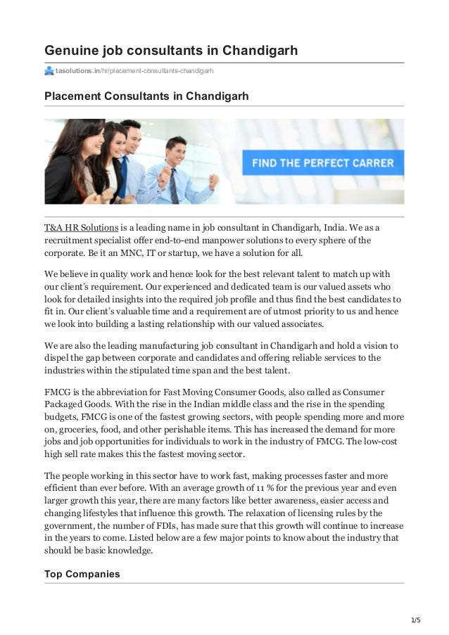 1/5 Genuine job consultants in Chandigarh tasolutions.in/hr/placement-consultants-chandigarh Placement Consultants in Chan...