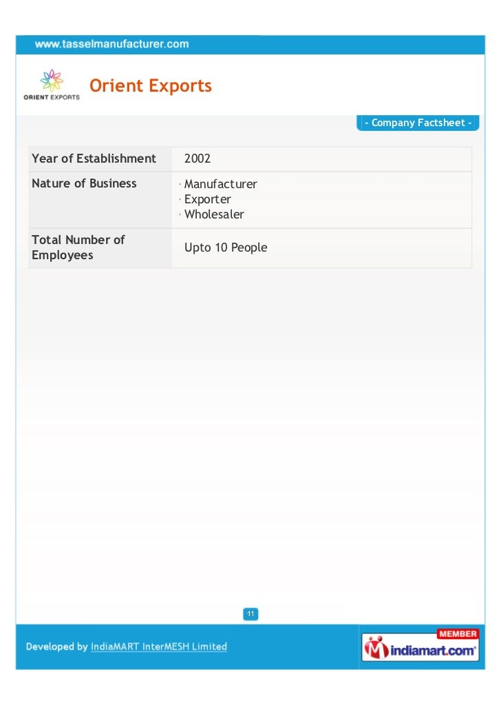 Orient Exports                                         - Company Factsheet -Year of Establishment   2002Nature of Business...