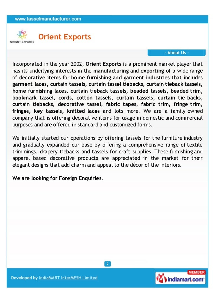 Orient Exports                                                                 - About Us -Incorporated in the year 2002, ...