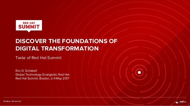DISCOVER THE FOUNDATIONS OF DIGITAL TRANSFORMATION Taste of Red Hat Summit Eric D. Schabell Global Technology Evangelist, ...