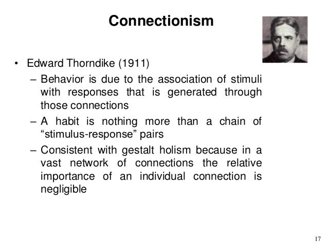 behaviourist thoery thorndikes theory of connectionism Behaviorism (john b connectionism (edward l thorndike thorndike's theory was based initially on a series of puzzle box experiments that he used to.