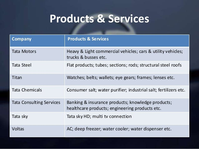 Products & Services Company Products & Services Tata Motors Heavy & Light commercial vehicles; cars & utility vehicles; tr...