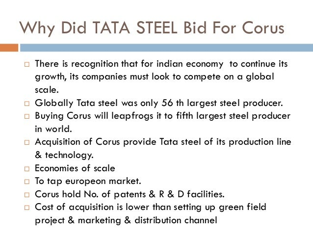 the tata corus m a deal Tata-corus deal corus the corus was created by the merger of british steel and dutch steel company, hoogovens corus was europe's second largest steel producer with a production of 182 million tonnes and revenue of gbp 92 billion (in 2005.