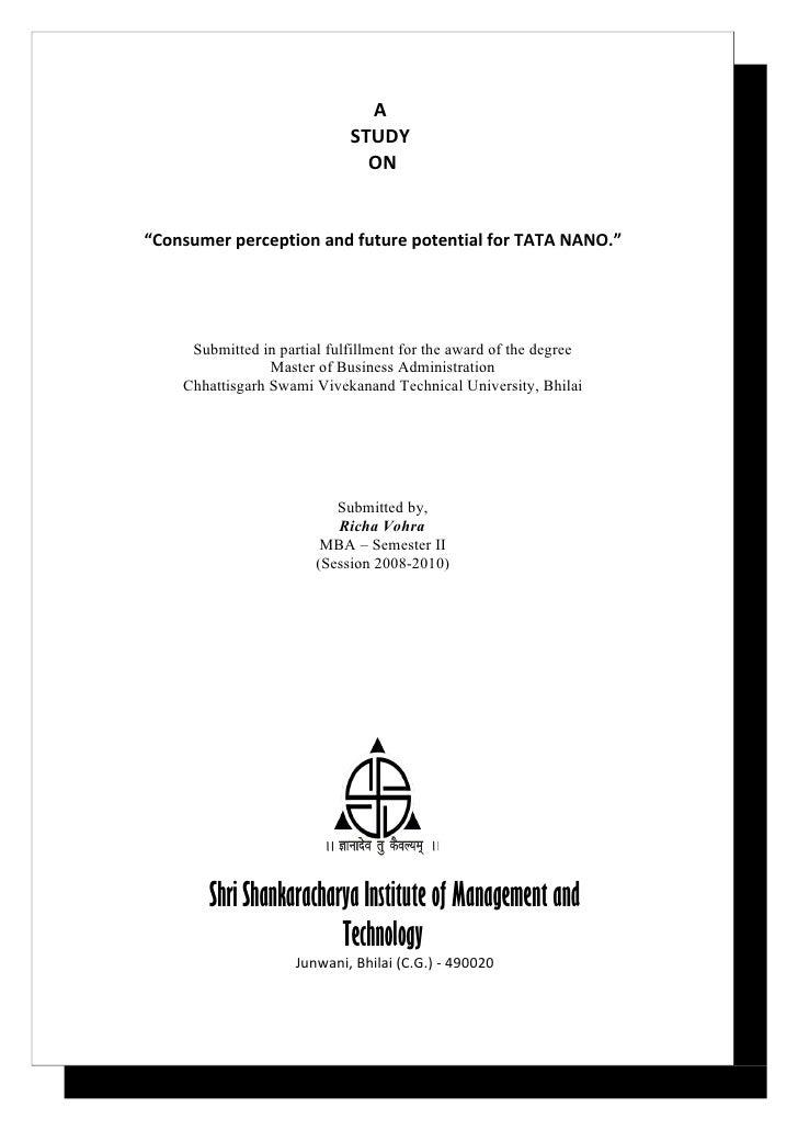 "A                             STUDY                               ON""Consumer perception and future potential for TATA NAN..."