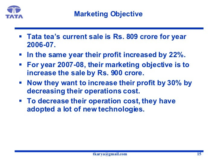 marketing mix of tata tea A marketing plan for lipton ice tea institutional tea because of its beneficial the packaging and marketing strategy for lipton ice tea is a reflection of.