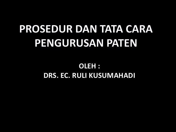 OLEH :DRS. EC. RULI KUSUMAHADI