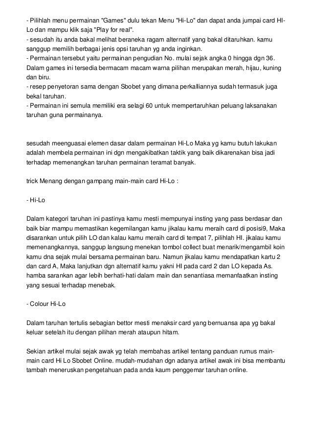 panduan resep main card Hi Lo Sbobet Online slideshare - 웹