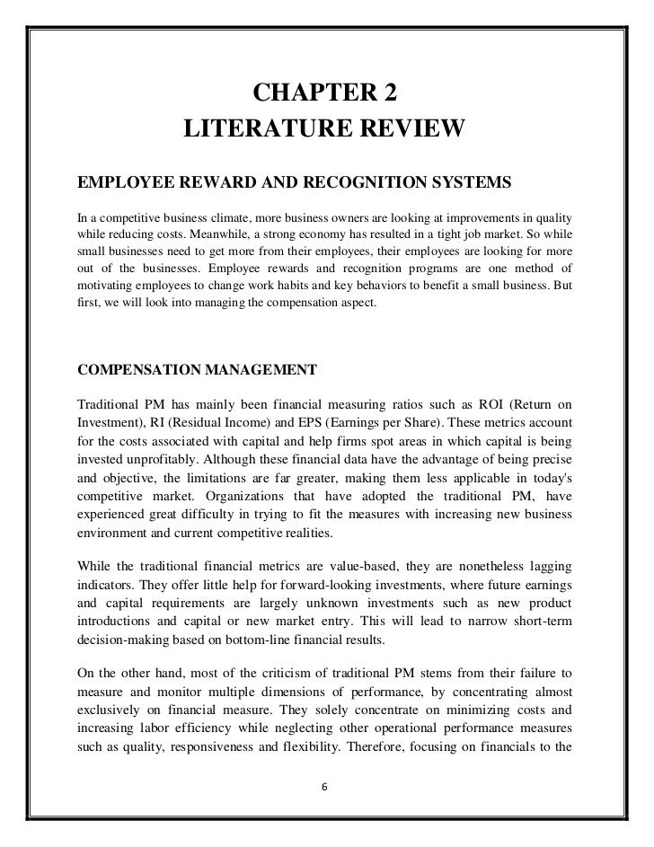 literature review compensation system