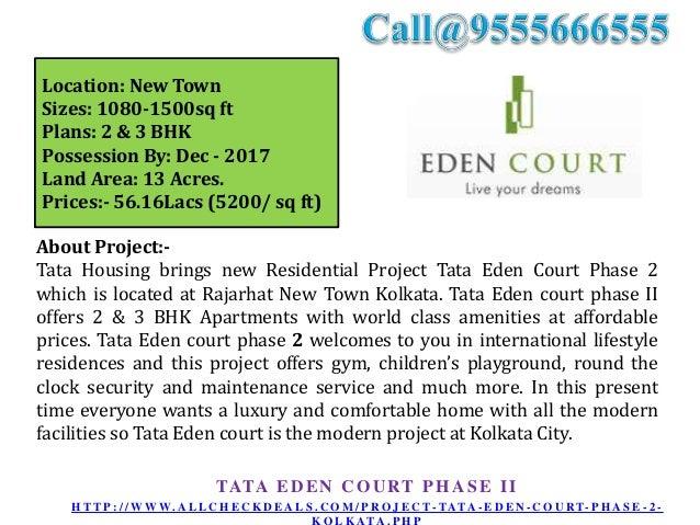 Tata Eden Court Phase 2 – New Housing Project at Kolkata Call 9555666555 Slide 2