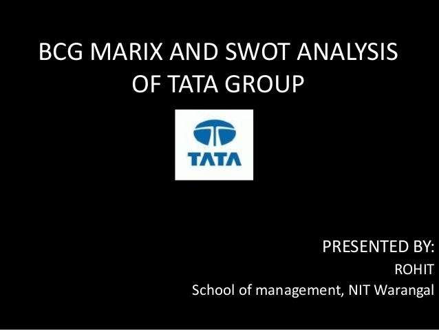 BCG MARIX AND SWOT ANALYSIS OF TATA GROUP PRESENTED BY: ROHIT School of management, NIT Warangal