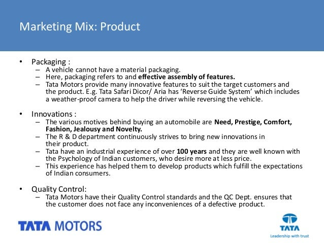 Product line of tata motors for Mercedes benz marketing mix