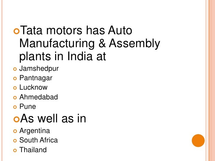internal and external environment of tata motors Introduction of tata motors tata motors limited (formerly telco) is an indian multinational automotive manufacturing company headquartered in we will also be sharing the elements of ford's internal and external environment (includes historical and competitor financial information), problem.