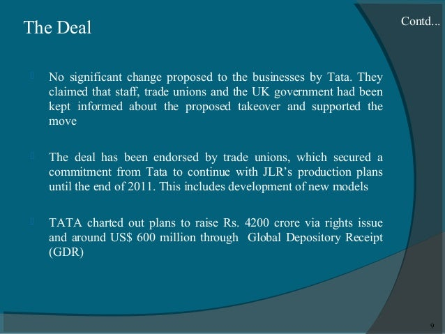 post acquisition scenario of tata motors Why is there such a wide difference between tata motors & tata motors dvr share price to fund the acquisition of jaguar land an investor stands to gain from capital appreciation in a scenario where the price difference between ordinary and dvr shares falls as a result of rising.