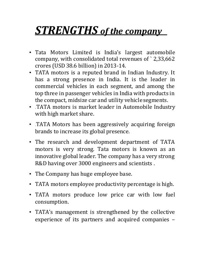 objectives of tata motors Tata motors truck world: advanced trucking expo objective : conceptualized to reach out to the ever discerning indian trucking customer, and their families, with 'truck world' tata motors.