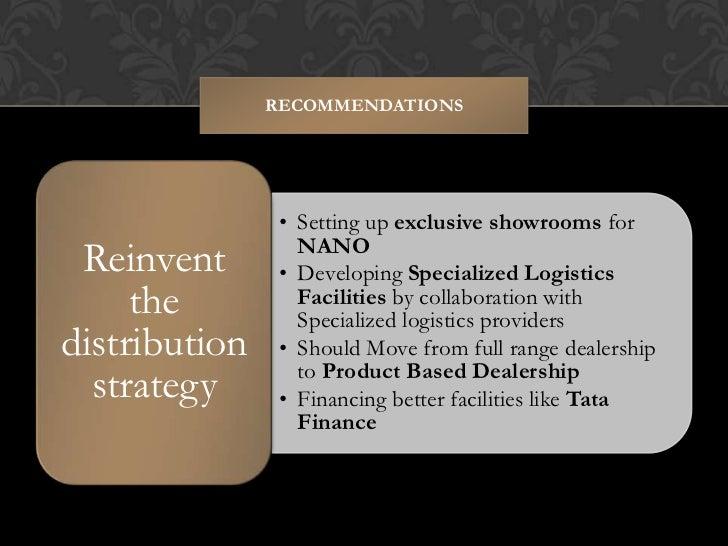 tata nano distribution strategies Tata nano presentation - free download as powerpoint presentation (ppt), pdf file (pdf), text file (txt) or view presentation slides online this is our class presentation of marketing strategies of tata nano by tatas.