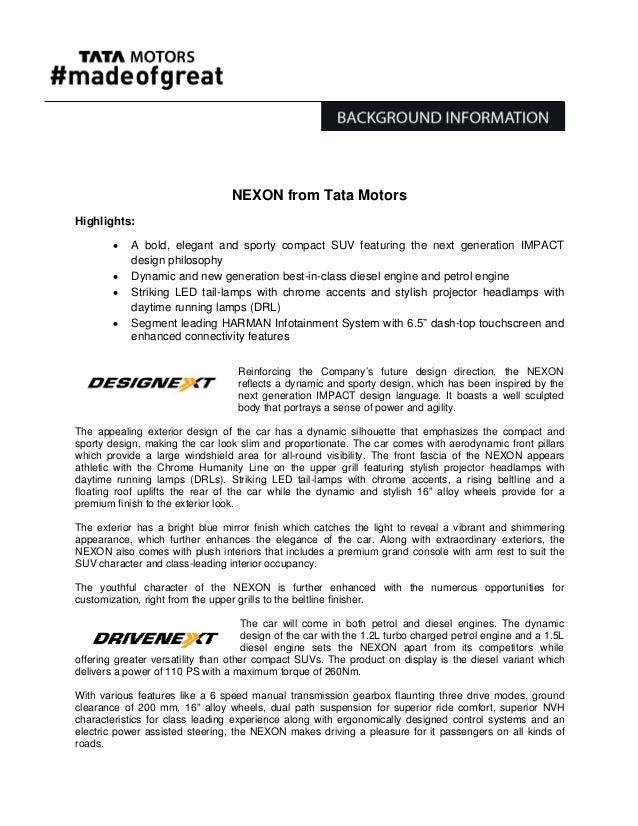 Tata nexon unveiled at auto expo 2016 press release