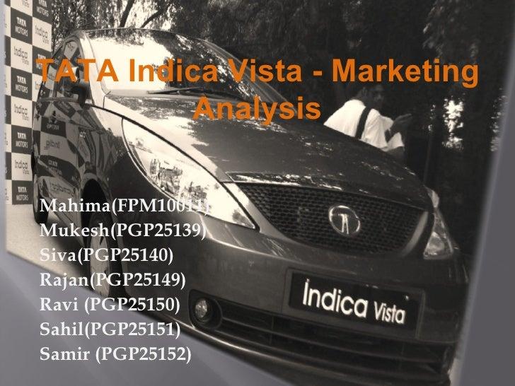 TATA Indica Vista - Marketing Analysis Mahima(FPM10011)  Mukesh(PGP25139)  Siva(PGP25140)  Rajan(PGP25149)  Ravi (PGP25150...